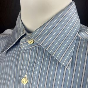 ERMENEGILDO ZEGNA Size 15 Long Sleeve Striped